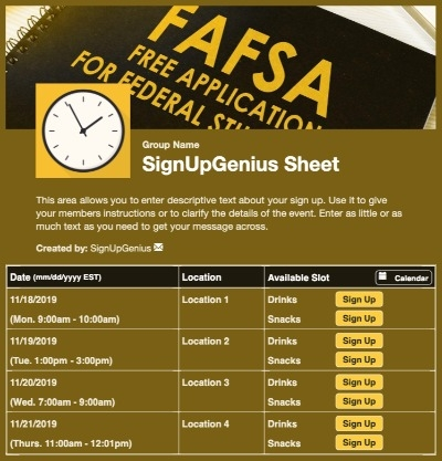 fasfa application college financial aid advising sign up form