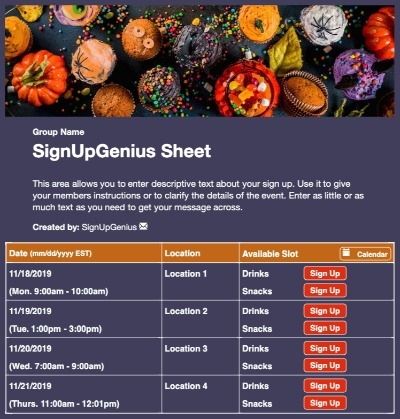 halloween fall treats party snacks sign up form