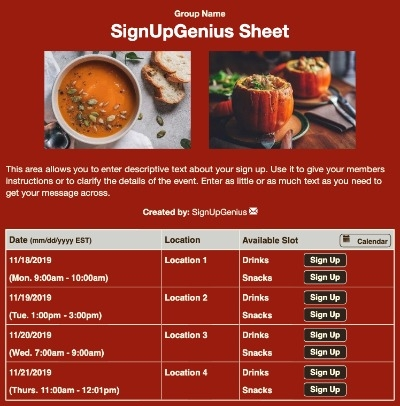 fall foods potlucks dinner meals sign up form