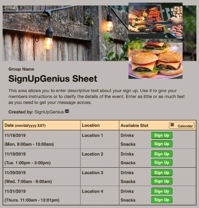 bbq cookout potluck dinner party grilling sign up form