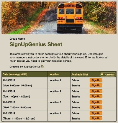 school bus field trip class sign up form