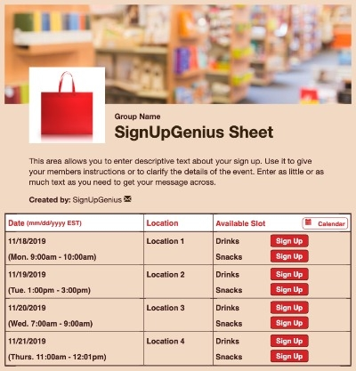 books fair library shopping store fundraiser supplies school sign up form