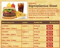 Burger & Fries sign up sheet