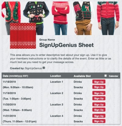 Christmas Sweater sign up sheet