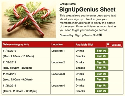 Candy Cane Branches sign up sheet