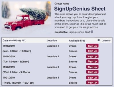 Red Christmas Truck sign up sheet