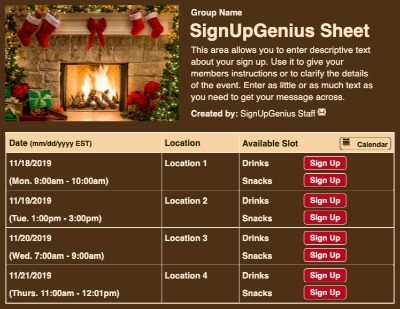 Christmas Fireplace sign up sheet
