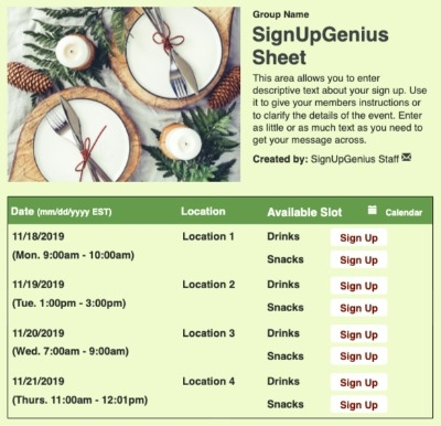 Christmas Table sign up sheet