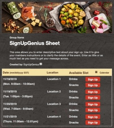 Holiday Potluck Spread sign up sheet