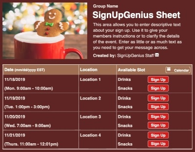 Christmas Hot Chocolate sign up sheet