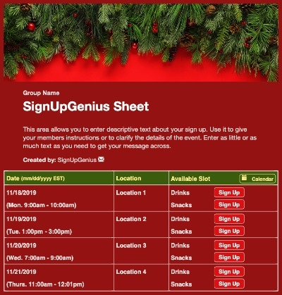Christmas Branches sign up sheet