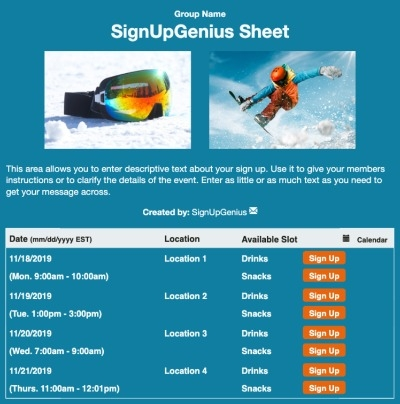 Snowboarding sign up sheet