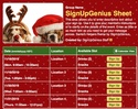 Santa's Helpers sign up sheet