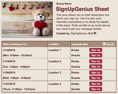 valentine's valentines bear love party giving teddy sign up form
