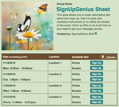 Butterfly Meadow sign up sheet