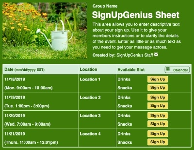 Garden Watering Can sign up sheet