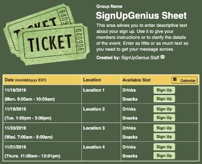 Carnival Tickets sign up sheet