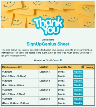 Thank You Notes sign up sheet