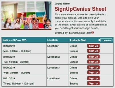 Classroom Kids sign up sheet