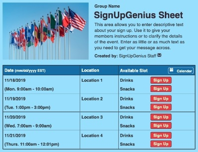 National Flags sign up sheet
