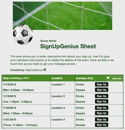 soccer net goal ball sports sign up form