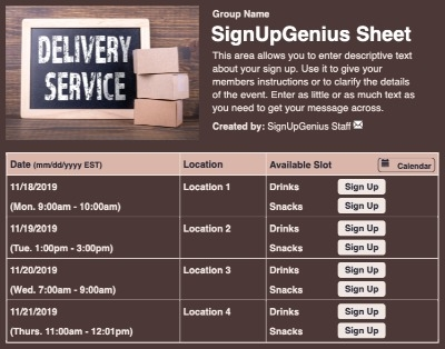 Delivery Service sign up sheet
