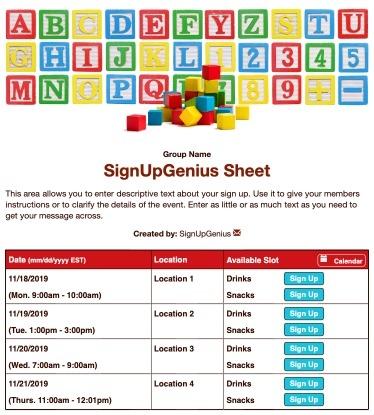 preschool daycare toddler nursery childcare children kids learning sign up form