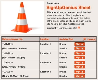 Traffic Duty sign up sheet