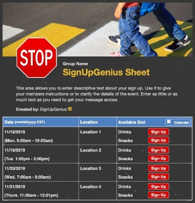 Crossing Guard sign up sheet