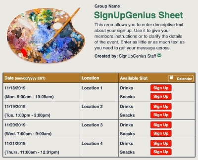 Painting Art sign up sheet