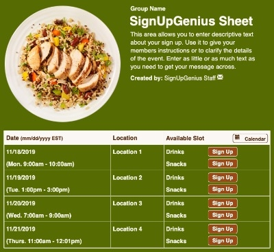 Chicken Meal sign up sheet
