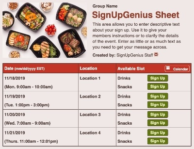 Food Takeout sign up sheet