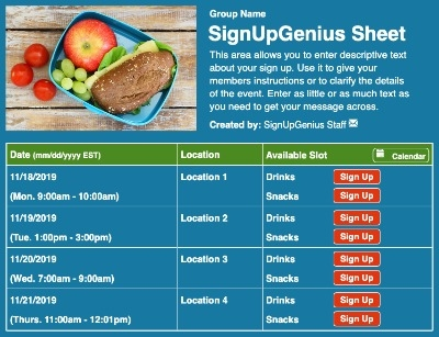 Lunch Box sign up sheet