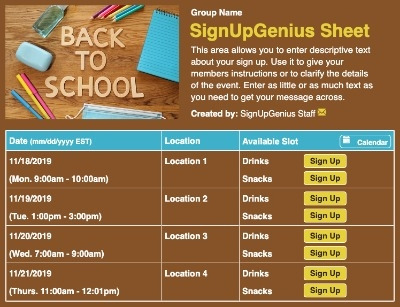 Back to School COVID sign up sheet