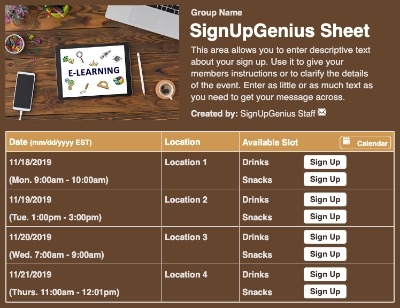 E-Learning sign up sheet