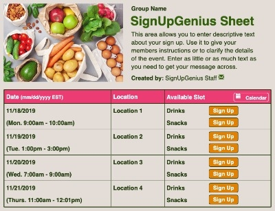 Groceries sign up sheet