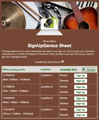 Virtual Music Lessons sign up sheet