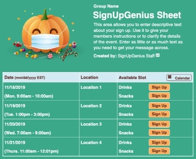Face Mask Pumpkin sign up sheet
