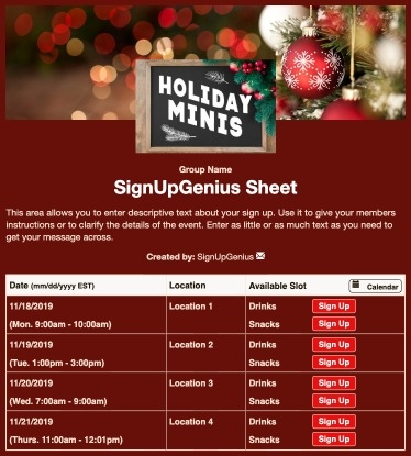 Holiday Mini Sessions sign up sheet