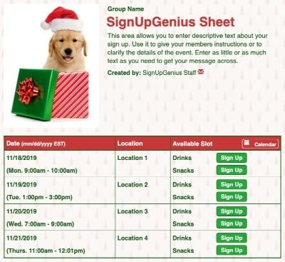 Holiday Pup sign up sheet
