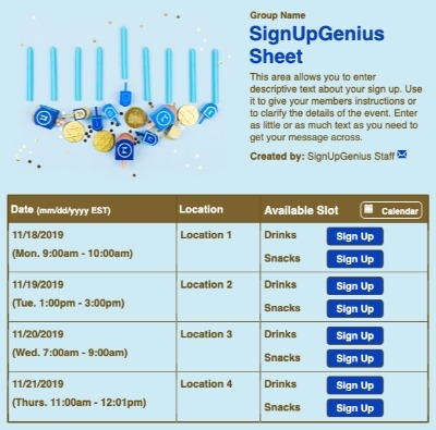 Blue Menorah sign up sheet