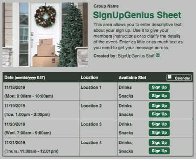 Christmas Gift Delivery sign up sheet