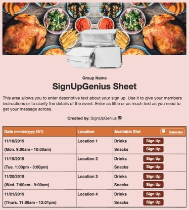 Thanksgiving Meal Delivery sign up sheet