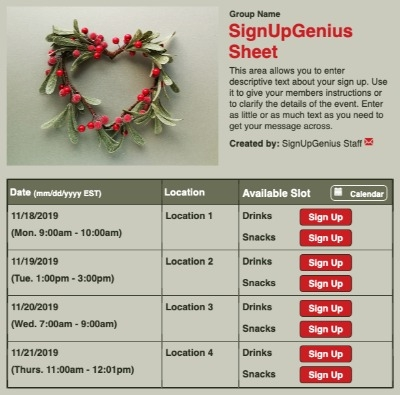 Mistletoe sign up sheet