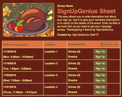 Thanksgiving 4 sign up sheet