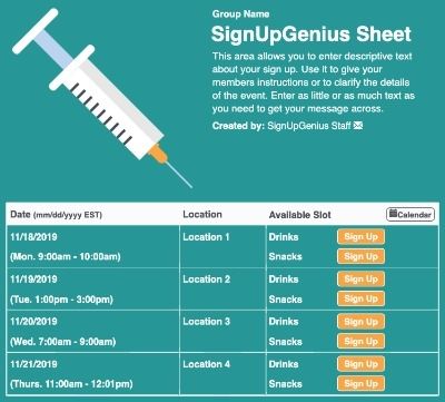 Vaccination sign up sheet