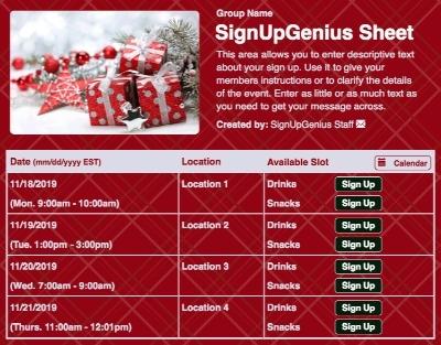 Holiday Party Sign up Sheet Holiday Presents Sign up Sheet
