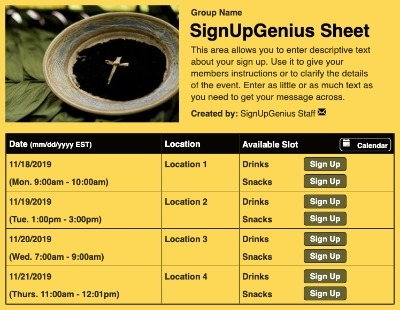 Ash Wednesday sign up sheet