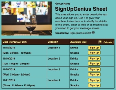 Virtual Happy Hour sign up sheet
