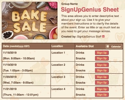 food sign up sheet template